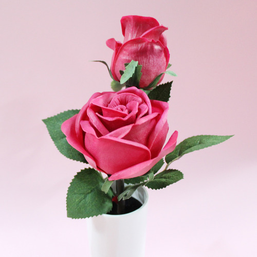 LED pink rose flower pot