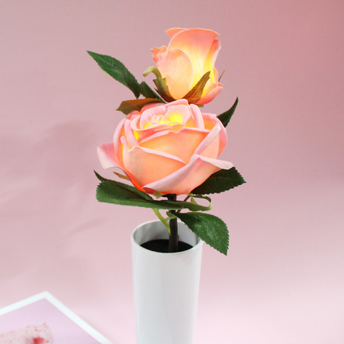 LED light pink rose flower pot