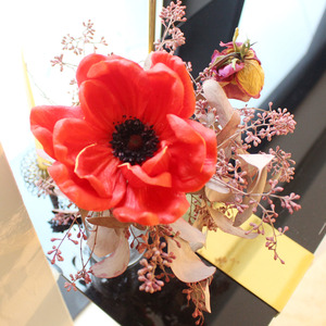 bright red anemone flower pen