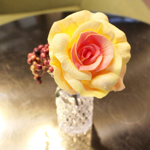 yellow orange elegance rose flower pen