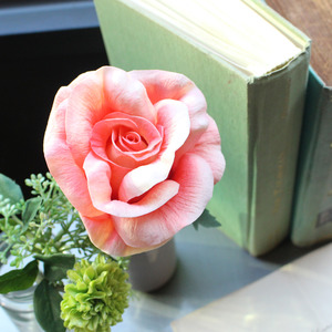 coral elegance rose flower pen